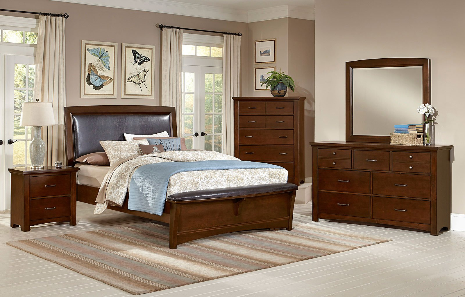Transitions Upholstered Bedroom Set (Dark Cherry)