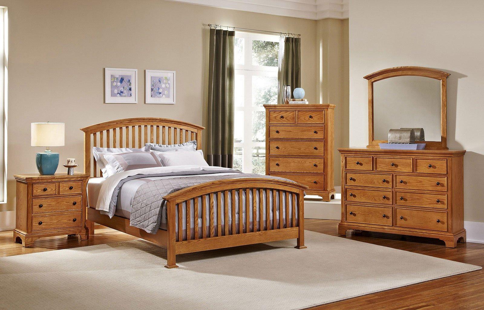 Forsyth Arched Bedroom Set Medium Oak Vaughan Bassett Furniture Cart
