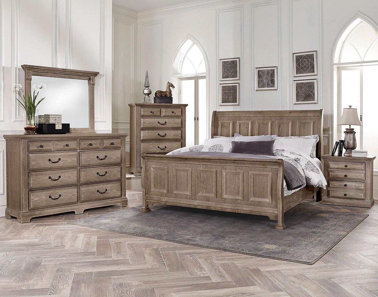 Woodlands Sleigh Bedroom Set (Driftwood) Vaughan Bassett