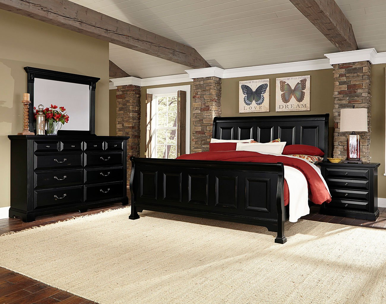 Woodlands Sleigh Bedroom Set (Black)