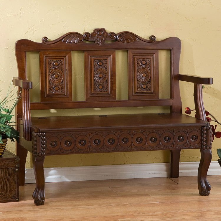 Mahogany Hand Carved Storage Settee