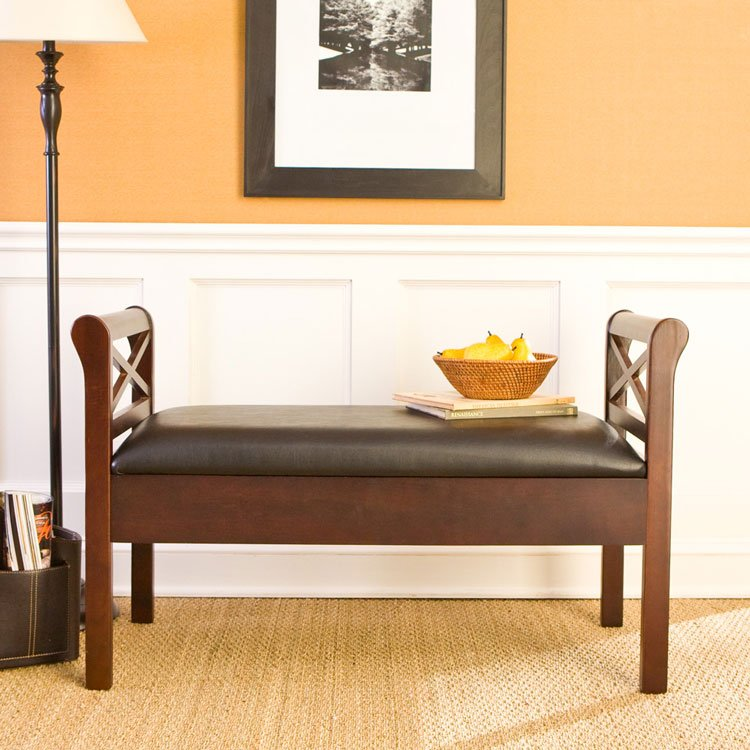 Faux Leather Storage Bench - Espresso/Black