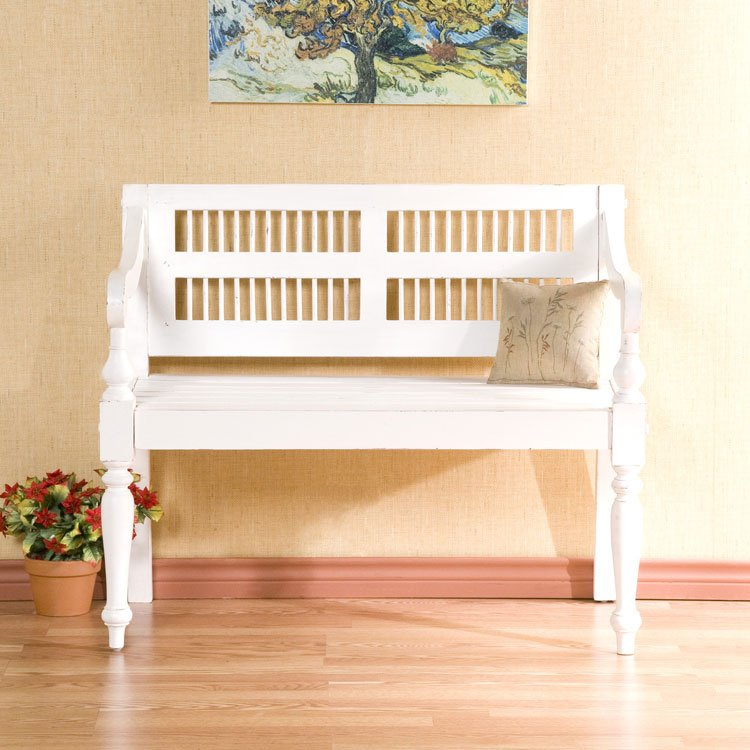 Classic Antique White Mahogany Bench