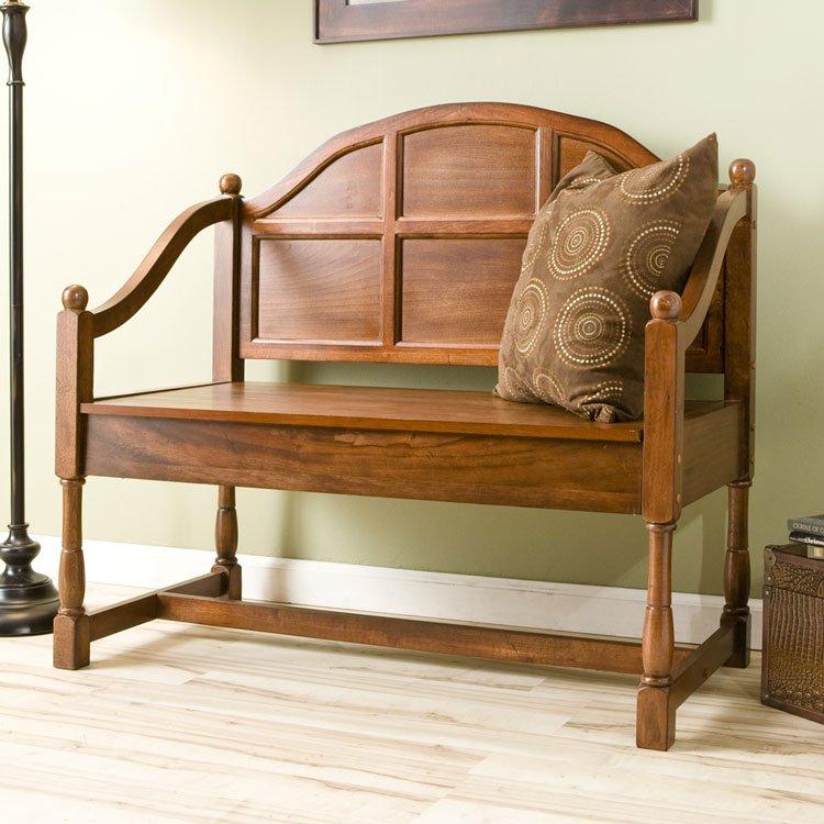 Storage Seat Bench - Brown Mahogany