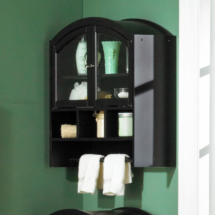 Arch Top Wall Cabinet - Black