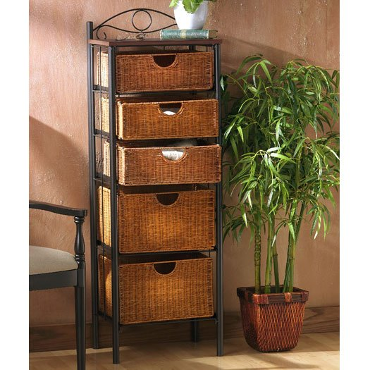 Iron/ Wicker Five Drawer Unit