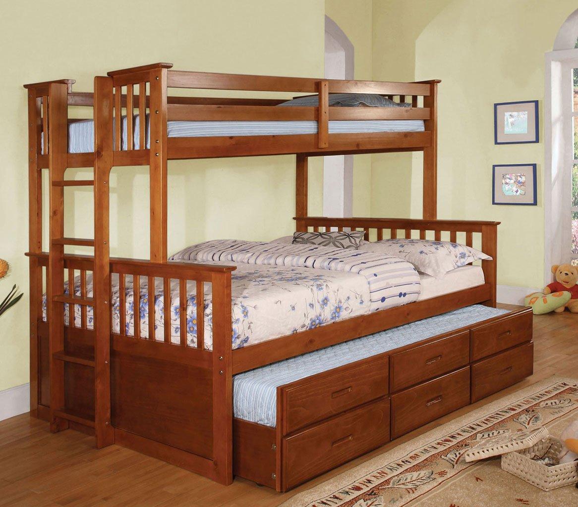 Omnus Youth Bedroom Set w/ University Bunk Bed (Oak)
