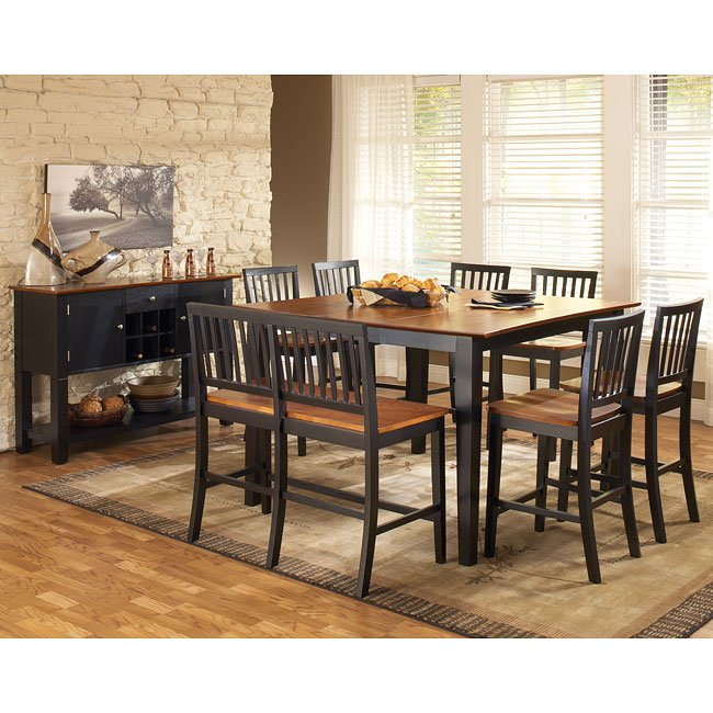 Branson Counter Height Dining Room Set (Black/Cherry)