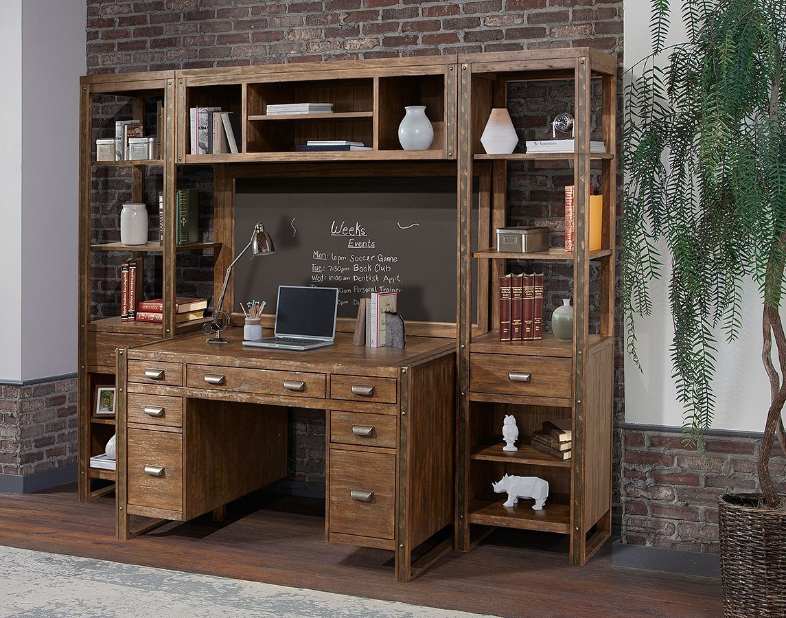 Home Office Sets Painted Office 5 Piece: Brooklyn 5-Piece Wall Desk W/ Bridge, Board And Piers
