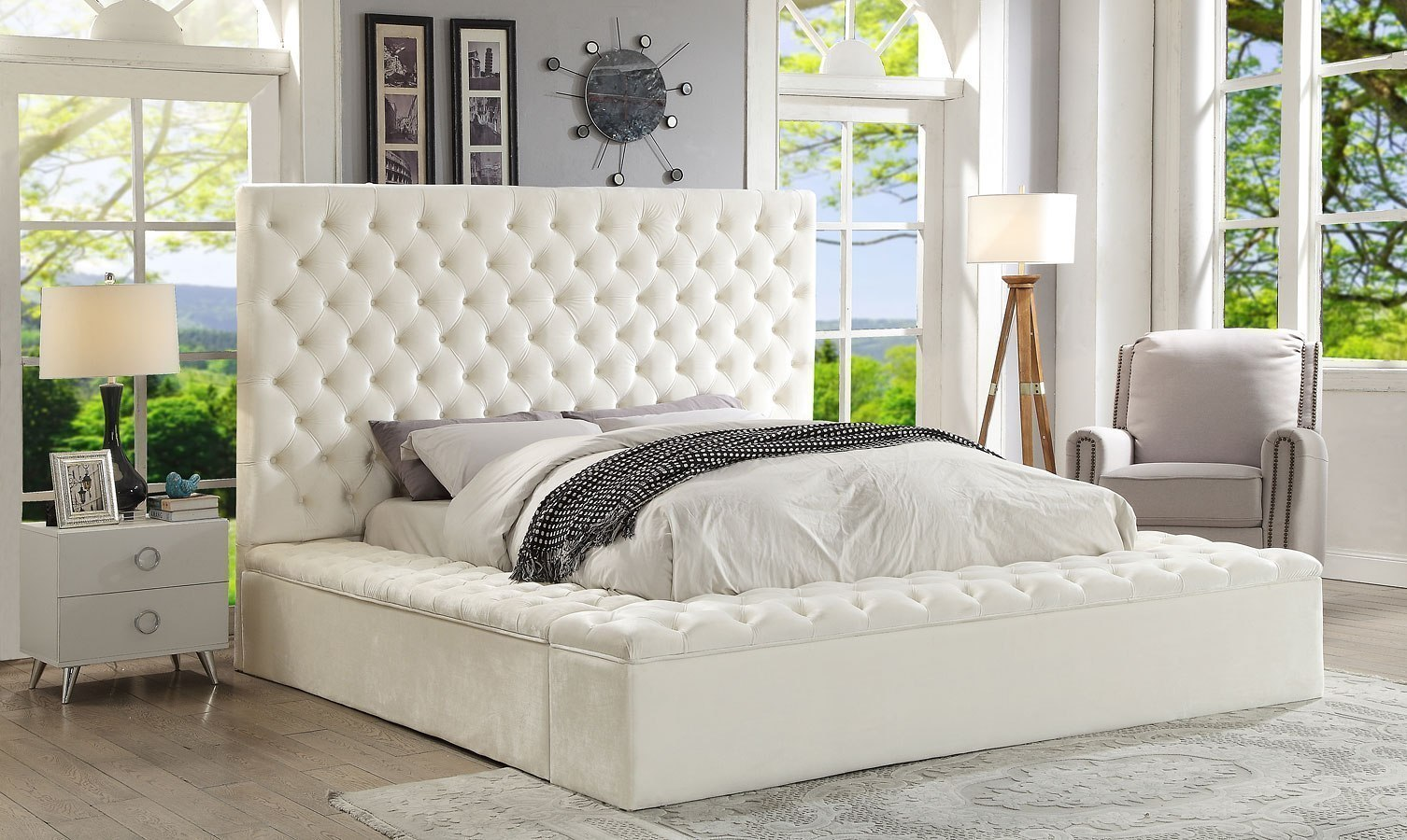 white tufted king bed
