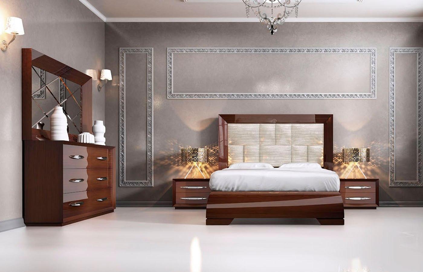 carmen platform bedroom set walnut esf furniture