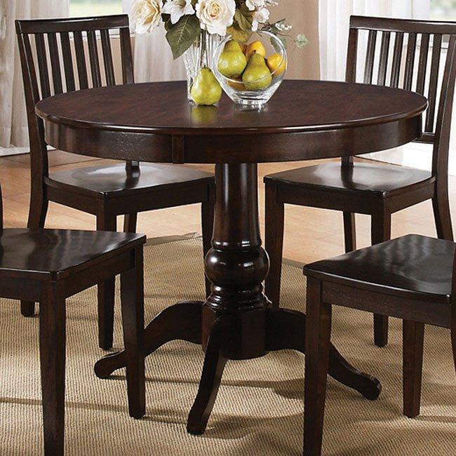 Genial Candice Round Dining Table (Dark Espresso)