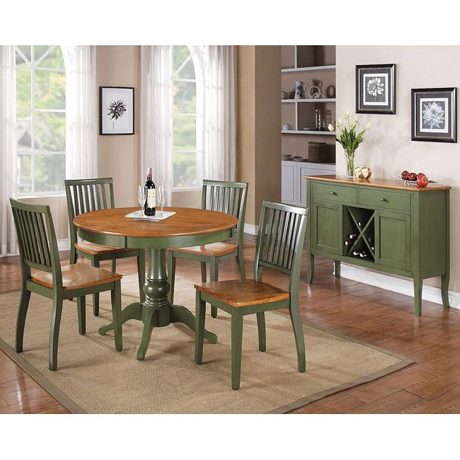 Genial Candice Round Dining Room Set (Oak / Green)