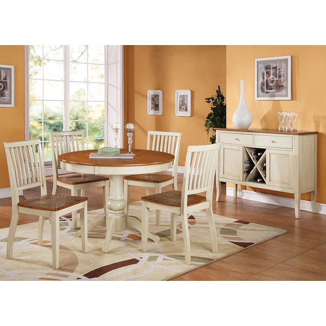 Candice Round Dining Room Set (Oak / White)