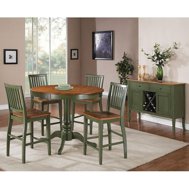 Delicieux Candice Round Counter Height Dining Set (Oak / Green)