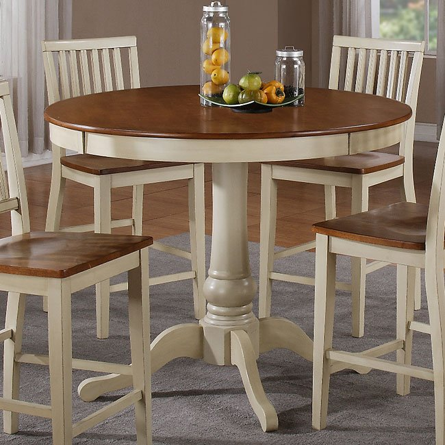 Candice Round Counter Height Table (Oak / White) Steve