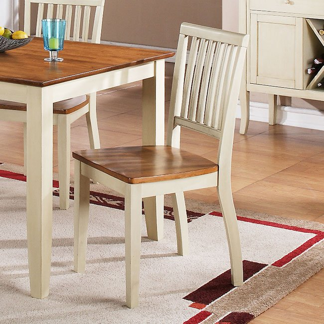 Candice Side Chair (Oak / White) (Set Of 2) By Steve Silver