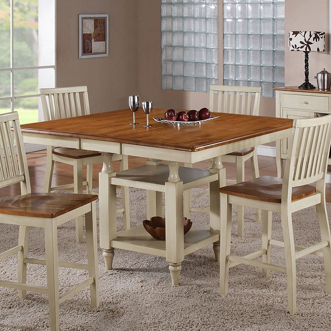 Candice Counter Height Table (Oak / White) Steve Silver