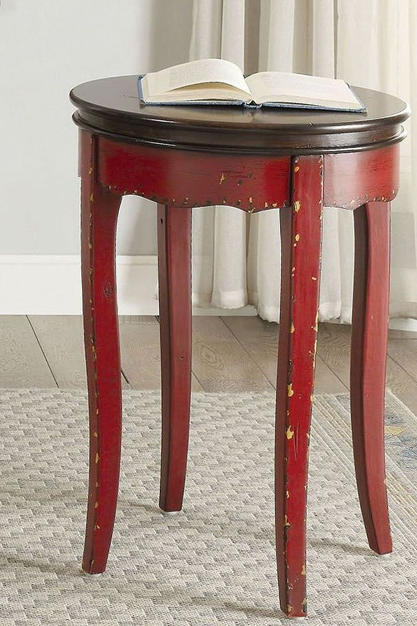Molly Vintage Round Side Table Red