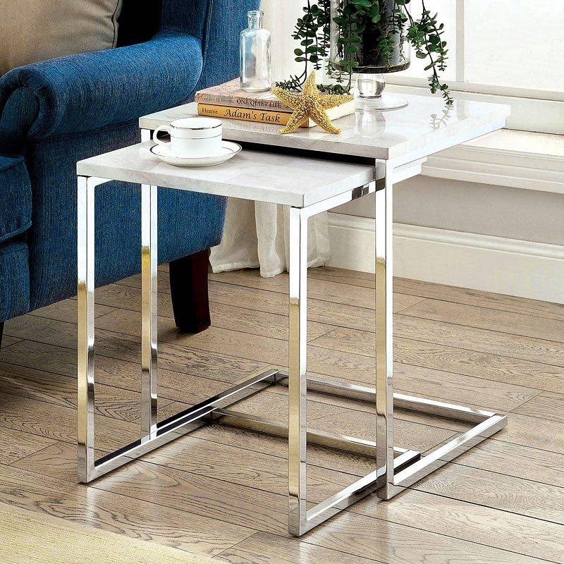 Sue nesting tables white furniture of america furniture cart sue nesting tables white watchthetrailerfo