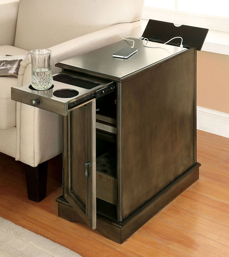 lilith i side table w usb and power outlet gray furniture of america furniture cart. Black Bedroom Furniture Sets. Home Design Ideas