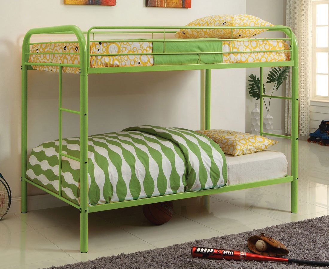 Rainbow Twin Over Twin Bunk Bed Green Furniture Of