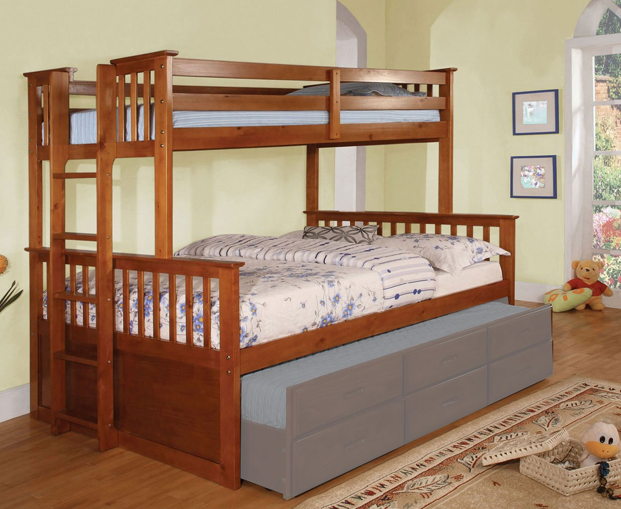university twin over queen bunk bed oak furniture of america furniture cart. Black Bedroom Furniture Sets. Home Design Ideas