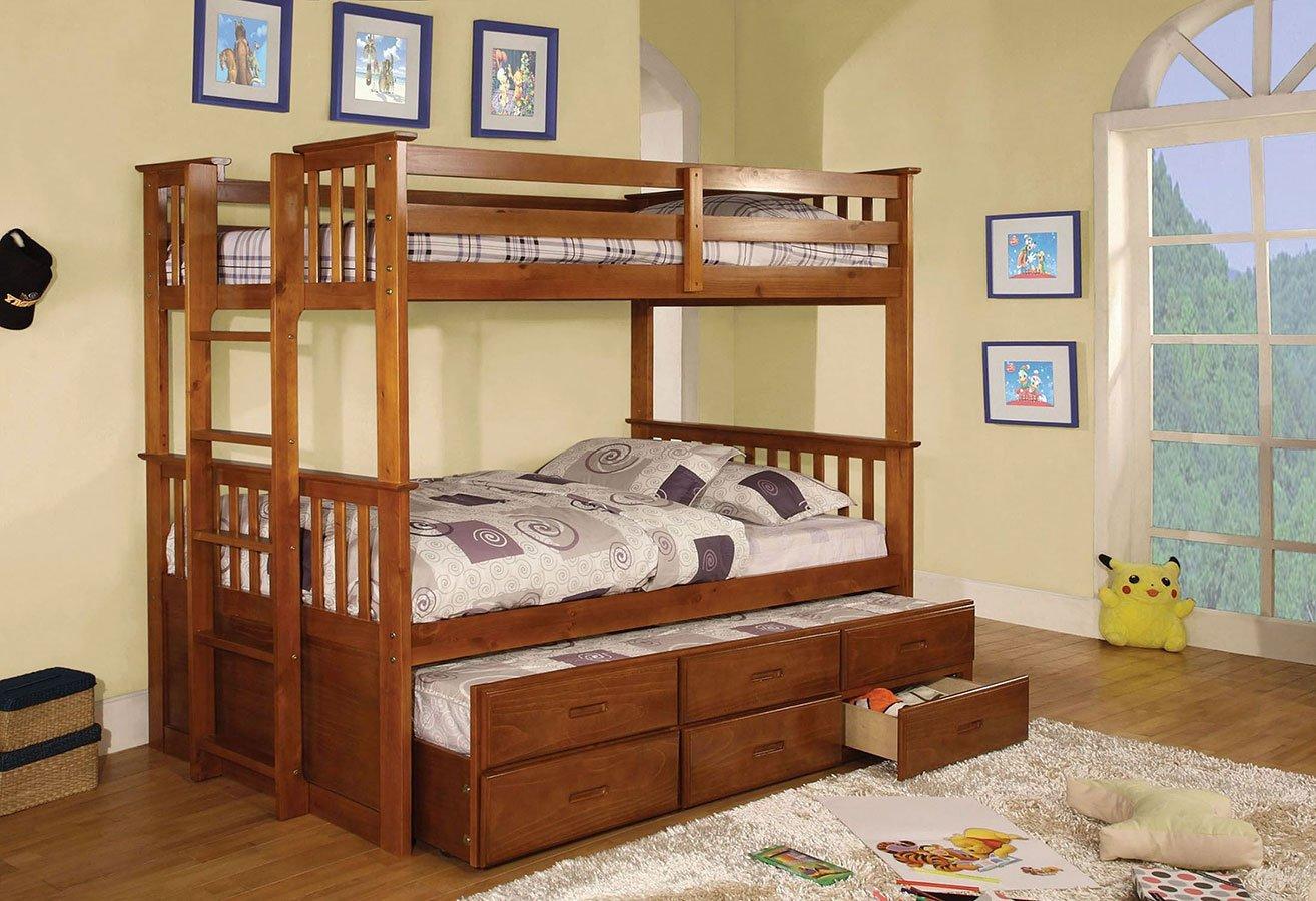 University Bunk Bedroom Set (Oak)