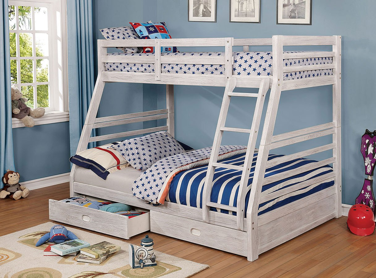 California Iv Twin Over Full Bunk Bed W 2 Drawers Brushed White Furniture Of America Cart