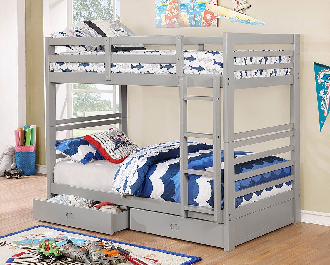 California Iv Twin Over Bunk Bed W 2 Drawers Gray