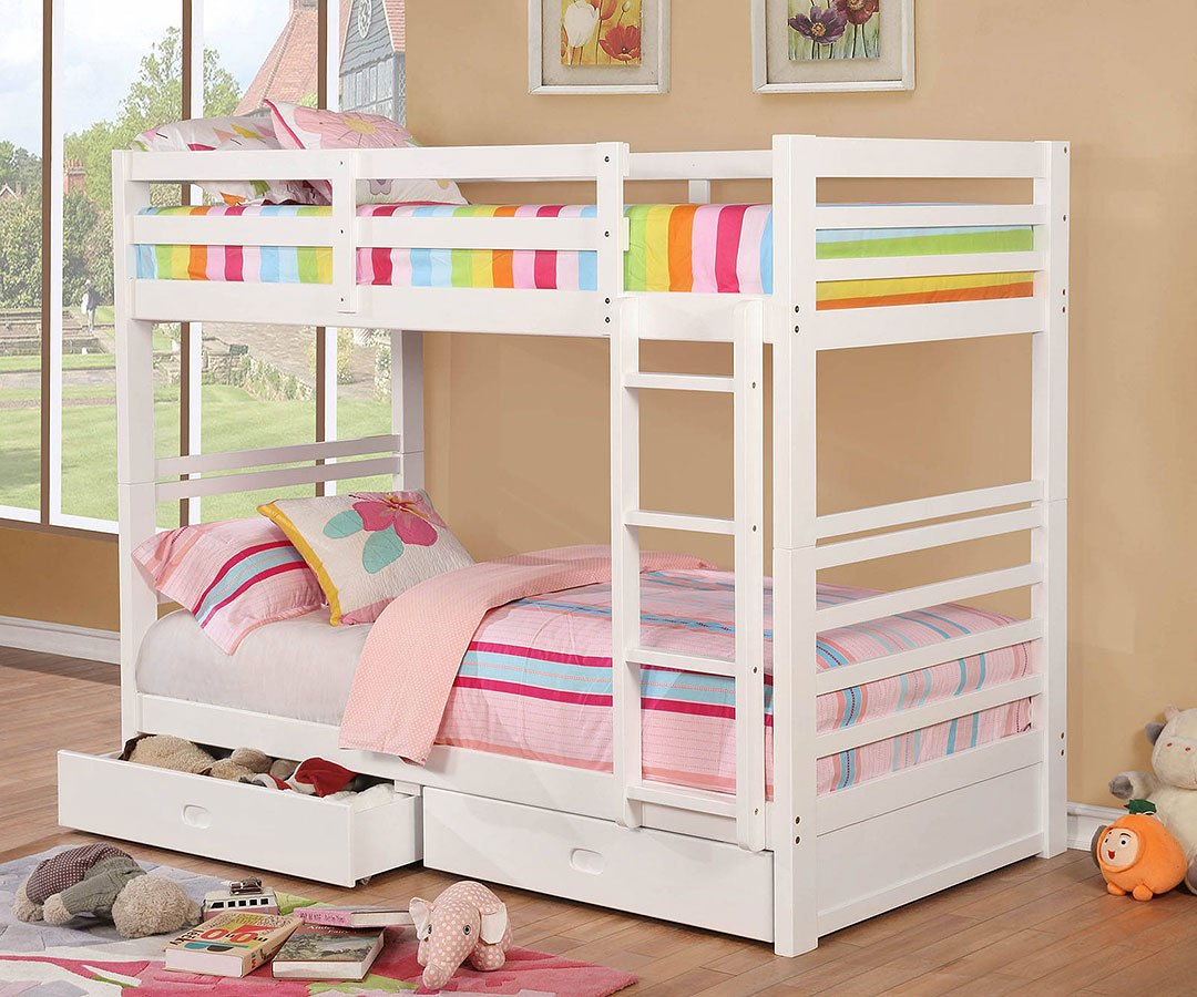 California Iv Twin Over Bunk Bed W 2 Drawers White Furniture Of America Cart