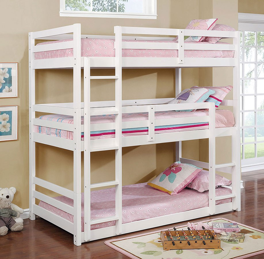 Furniture Of America Triple Bunk Bed: California V Triple-Decker Bunk Bed (White) Furniture Of