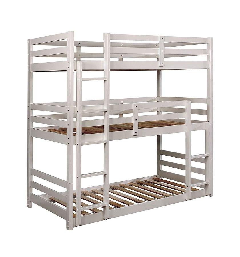 California V Triple Decker Bunk Bed White Furniture Of