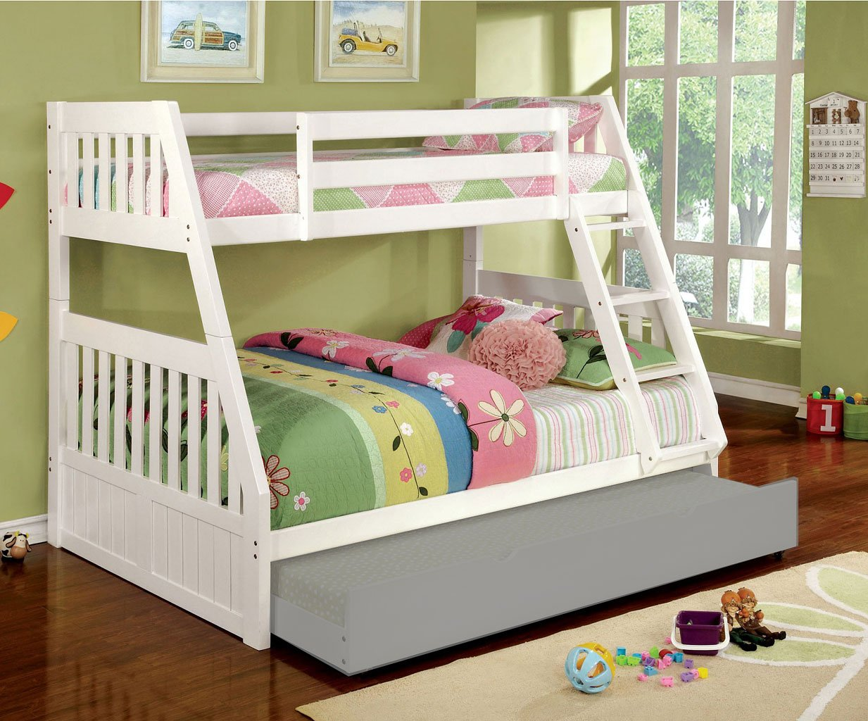 Canberra Twin/ Full Bunk Bed (White)