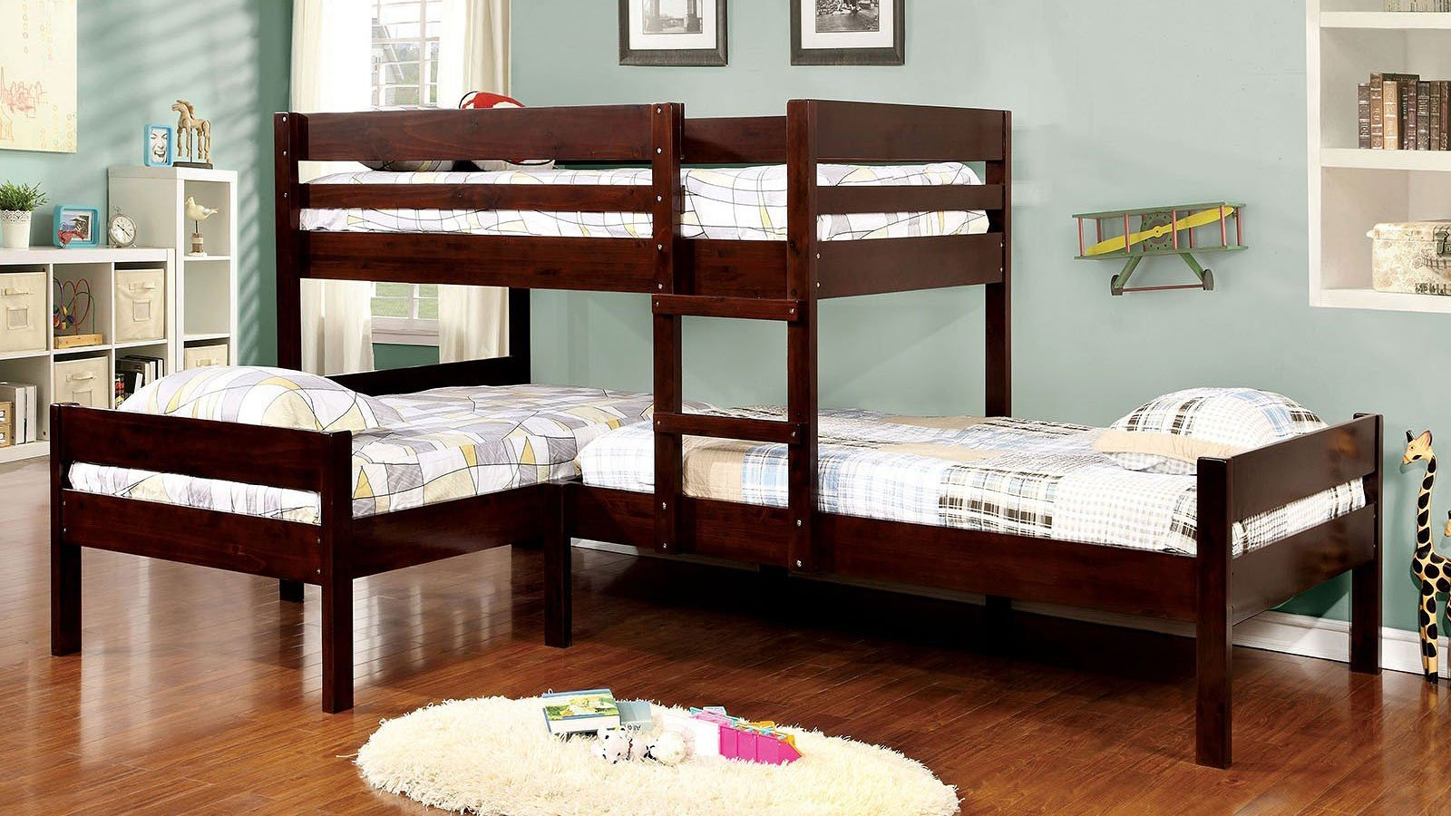 Ranford L-Shaped Triple Twin Bunk Bed