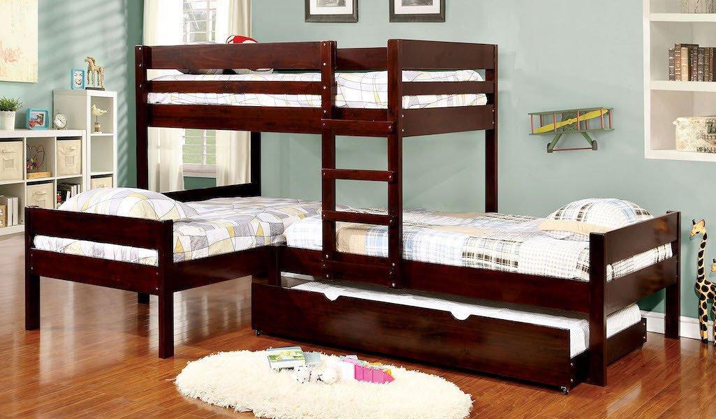 Ranford L-Shaped Triple Twin Bunk Bedroom Set