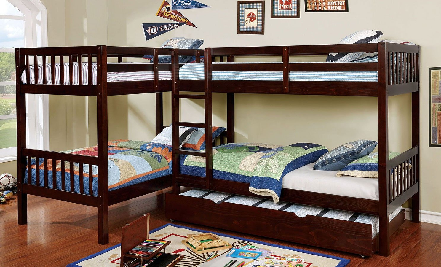 Marquette L-Shaped Quadruple Twin Bunk Bedroom Set