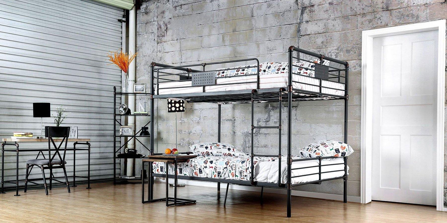 Olga i industrial bunk bedroom set furniture of america - Industrial bedroom furniture sets ...