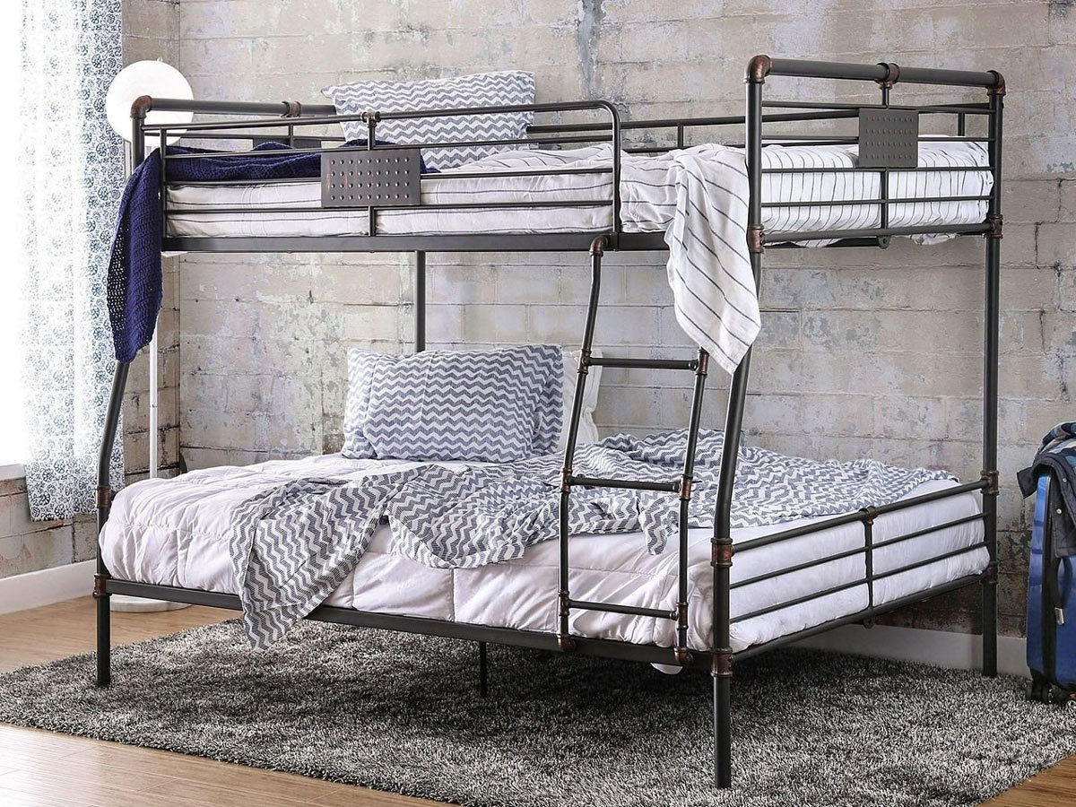 Picture of: Olga I Industrial Full Over Queen Bunk Bed Furniture Of America Furniture Cart