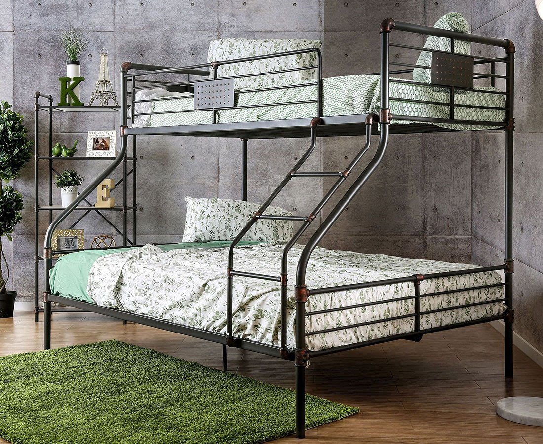 Olga I Industrial Twin Xl Over Queen Bunk Bed Furniture Of America