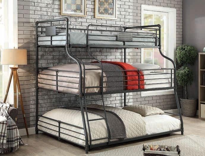 Olga Iii Twin Full Queen Triple Decker Bunk Bed Furniture Of America Cart