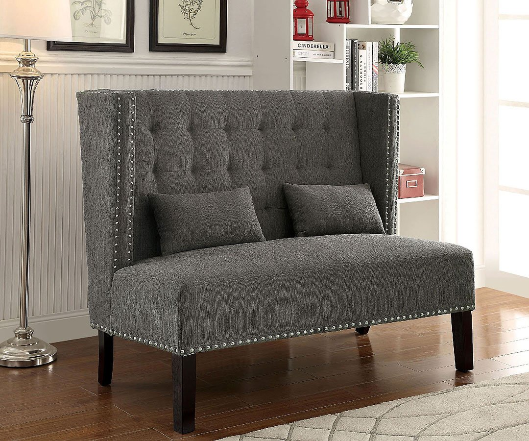 Amora Loveseat Bench Gray Furniture Of America