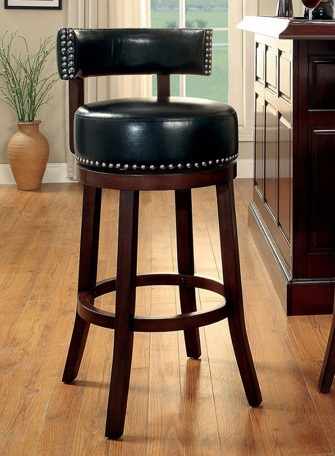 Shirley 25 Inch Swivel Bar Stool Black Set Of 2 Furniture Of