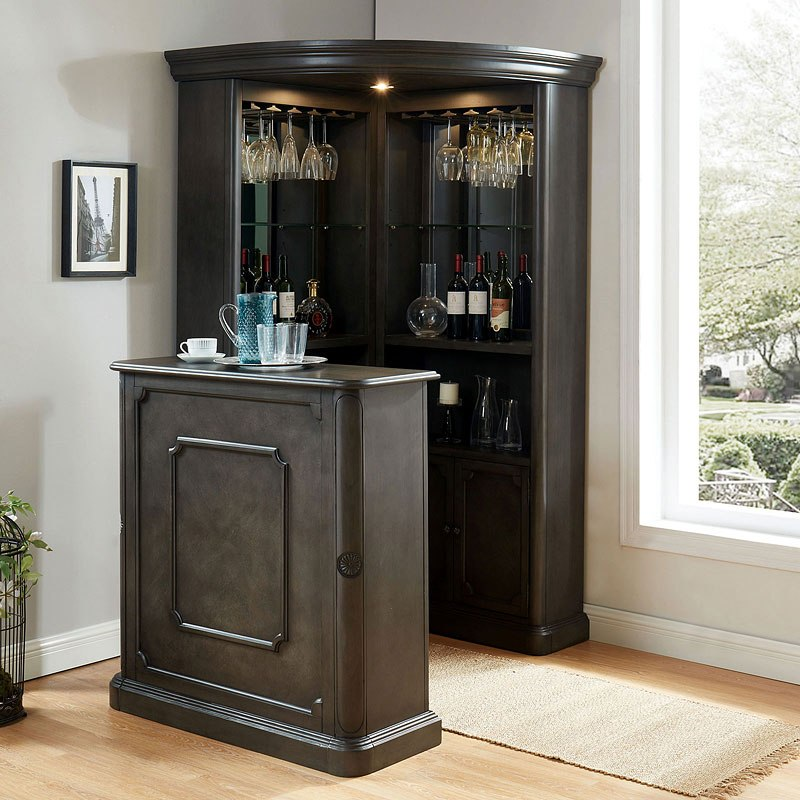 Voltaire Home Bar Set Gray Furniture Of America Furniture Cart