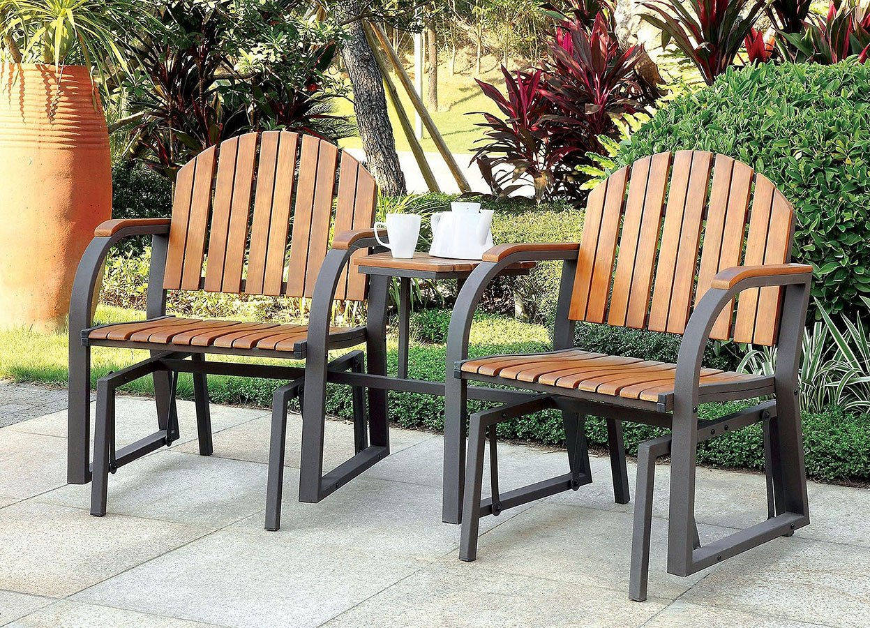 Outdoor Rocking Chairs W Attached Table Furniture Of America Cart