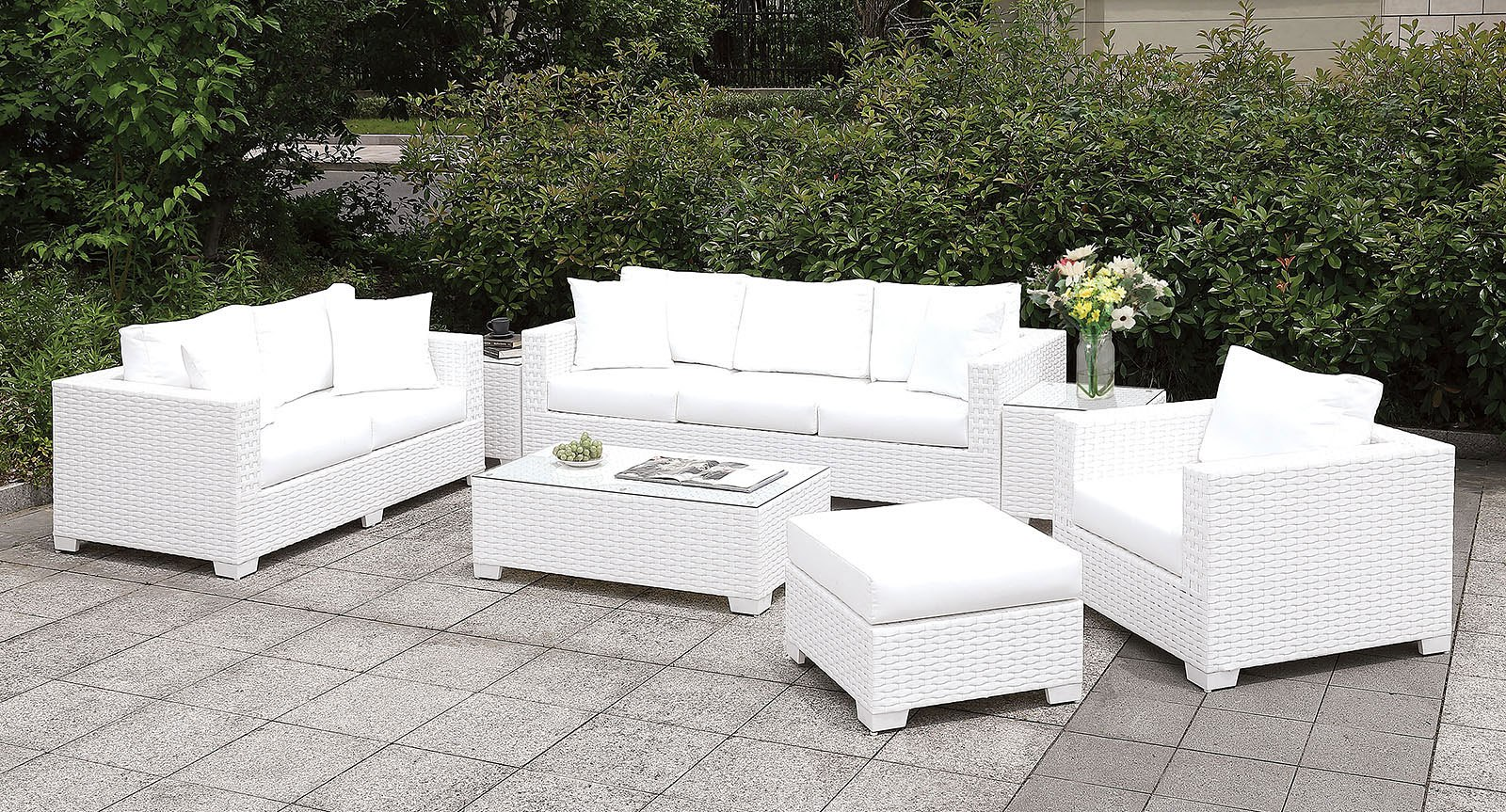 Somani White Outdoor Seating Set Configuration 15 Furniture Of America Furniture Cart