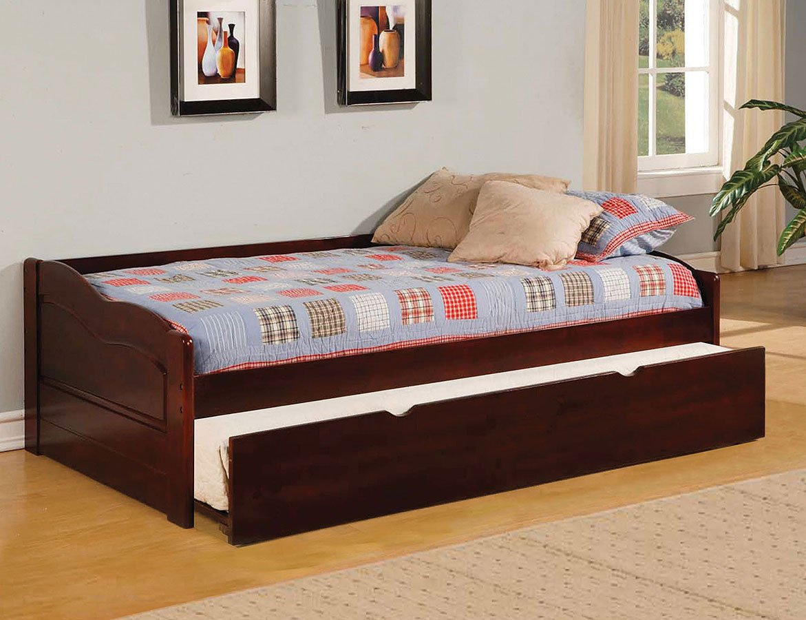 Sunset daybed w trundle cherry furniture of america furniture
