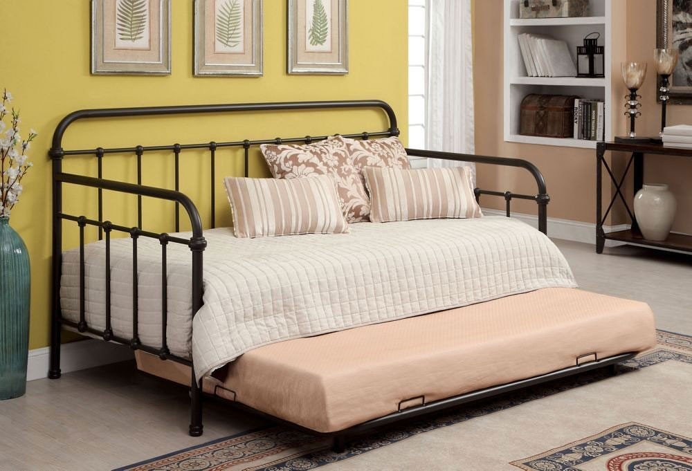 Claremont daybed w trundle dark bronze furniture of america