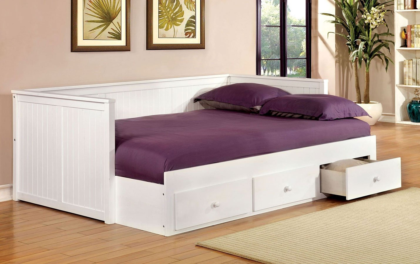 Wolford full size daybed w drawers white furniture of america
