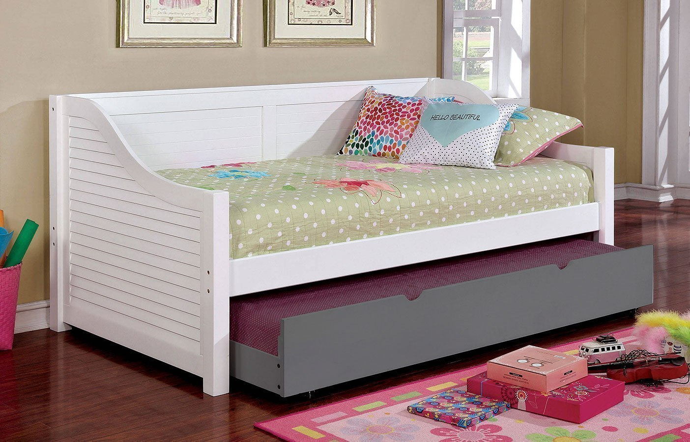 Flo daybed white furniture of america furniture cart